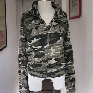 Self Esteem Deconstructed Army Zip Up Size XL 😘